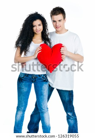 Smiling couple isolated on a white background