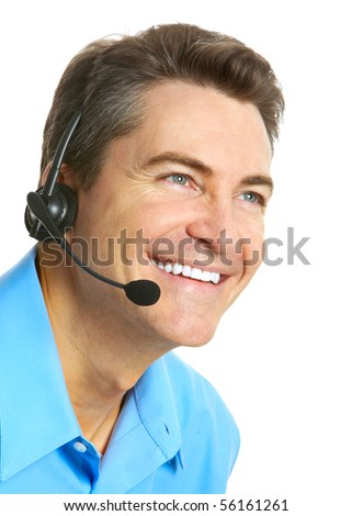 Smiling customer service operator. Over white background - stock photo