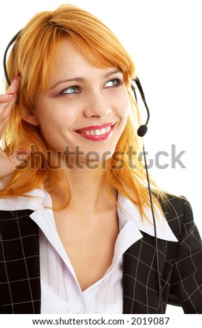 smiling customer service redhead lady using headset
