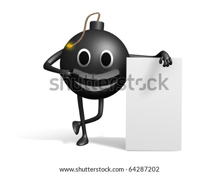Smiling 3d cartoon bomb with a blank board, from front view