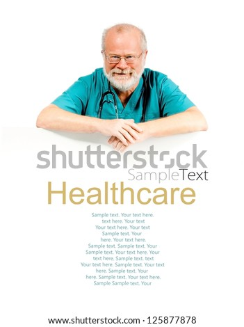 smiling doctor behind the white banner (sample text)