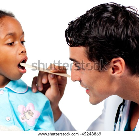 Smiling doctor checking little girl's throat isolated on a white background