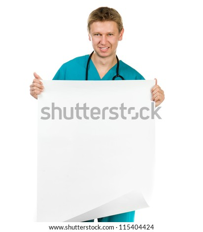 smiling doctor hold the paper with copy space for text or design