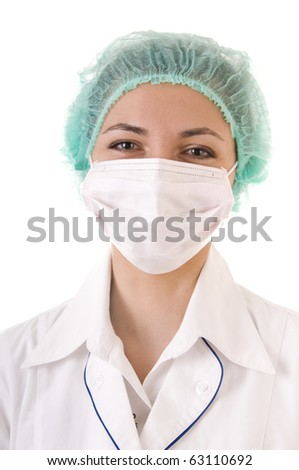 Smiling doctor in mask and blue cap isolated on white background