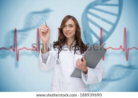 Smiling doctor pointing against blue medical background with dna and ecg