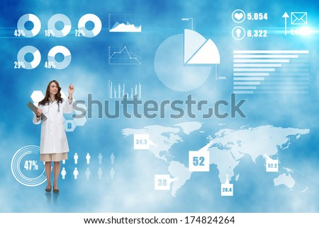 Smiling doctor pointing against futuristic technology interface