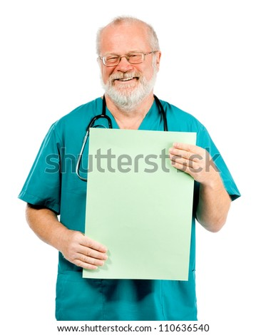smiling doctor with green poster over white