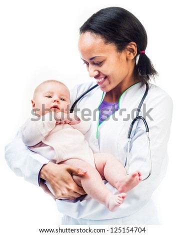 Smiling Doctor with stethoscope and small baby isolated on a white background