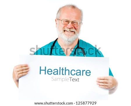 smiling doctor with white poster (sample text)