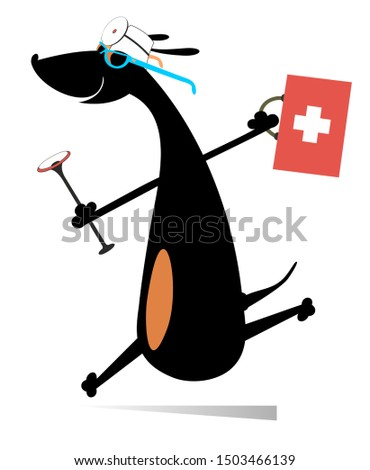 Smiling dog runs to render the medical aid illustration. Cartoon hurry dachshund a doctor with a doctor bag and endoscope isolated on white