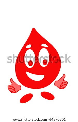 Smiling drop of blood cell in gesturing OK, health concept