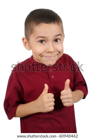 Smiling eight-year-old boy giving thumbs up sign, isolated on pure white background