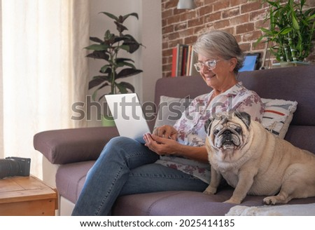 Smiling elderly woman at home working with laptop, sitting close to her old pug dog