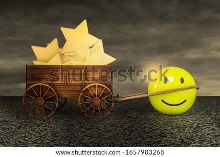 Smiling emoticon happy dragging a farm cart of golden stars on asphalt in a sunset day. Customer satisfaction rating or service experience or positive feedback survey concept. 3D illustration