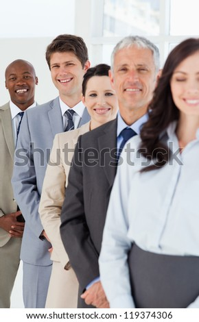 Smiling employees which are laughing while following leaders #119374306