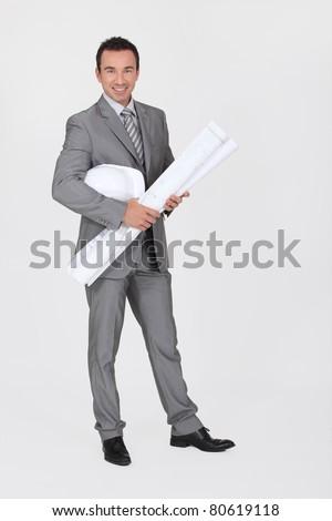 Smiling entrepreneur on white background