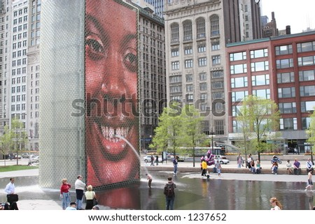 Smiling face on Chicago's Crown Fountain in Millennium Park