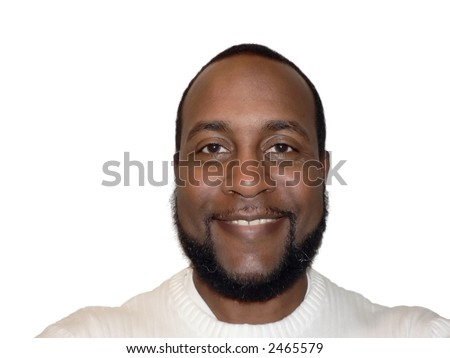 smiling face shot of a African American male showcasing facial expression isolated on  white