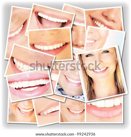 Smiling faces collage, happy young girls laughing, close up on beautiful healthy female lips and teeth, dental care concept