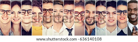 Smiling faces. Happy group of multiethnic young people men and women  #636140108