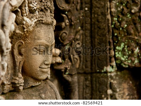 Smiling faces in the Temple of Bayon - stock photo