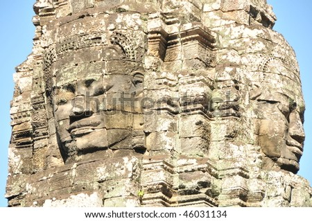 Smiling faces in the Temple of Bayon,Bayon is most famous place, built in the 13th century as the centre of Angkor Thom.