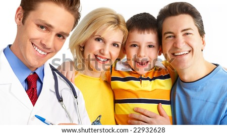 Smiling family medical doctor and young family. Over white background - stock photo