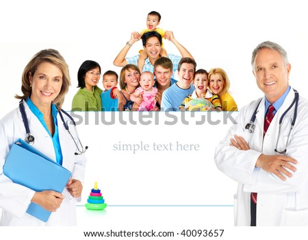 Smiling family medical doctors and young families. Over white background