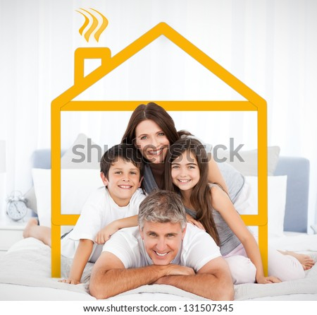 Smiling family portrait in bed framed by yellow digital house illustration