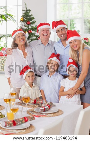 Smiling family posing for photograph at christmas