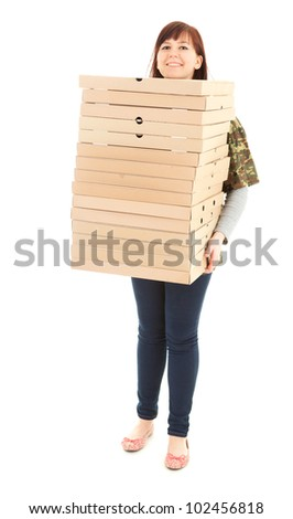 smiling fat teenage girl with boxes of pizza, full length, white background