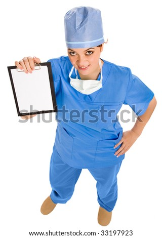smiling female doctor with board in hand. view from above