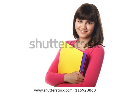 Smiling female student with folders isolated on white