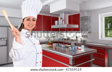 Smiling female young chef with a nice smile