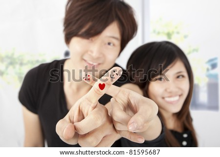 smiling fingers of happy couple