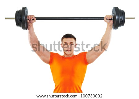 Smiling fitness bodybuilder man at arm muscles exercises with training dumbbells weight isolated on white