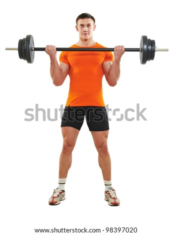 Smiling fitness bodybuilder man at biceps brachii muscles exercises with training dumbbells weight isolated on white