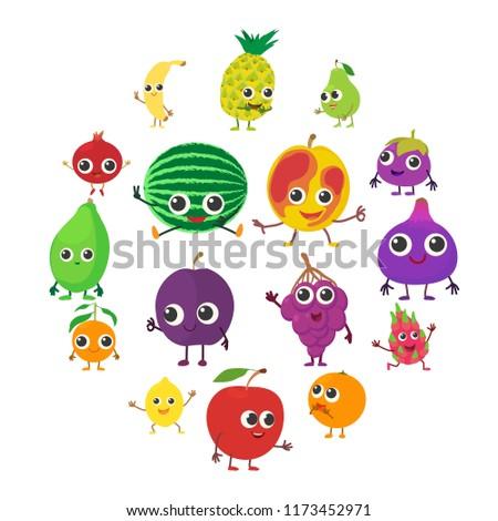 Smiling fruit icons set. Cartoon illustration of 16 smiling fruit icons for web #1173452971