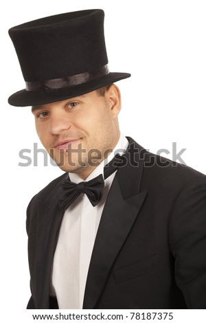 Smiling gentleman over white background