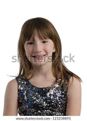 Smiling girl close-up portrait, isolated on white background