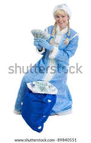 smiling girl dressed in traditional russian christmas costume of Snegurochka (Snow Maiden) with bag of money, isolated on white background