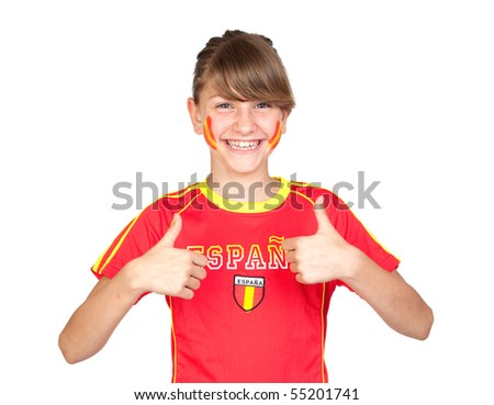 Smiling girl fan of the Spanish team saying OK isolated on white background