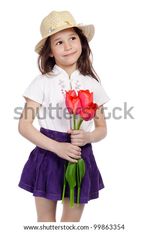 Kids with flowers, Valentine and Mother's day