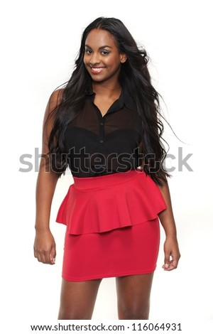 Smiling girl is isolated against a white background