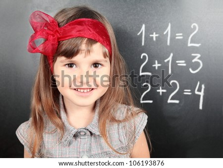 Smiling Girl Near Blackboard Learning Mathematics Portrait