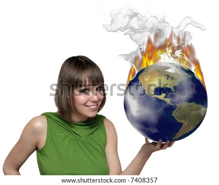 smiling girl portrait with  fire earth planet at the hand