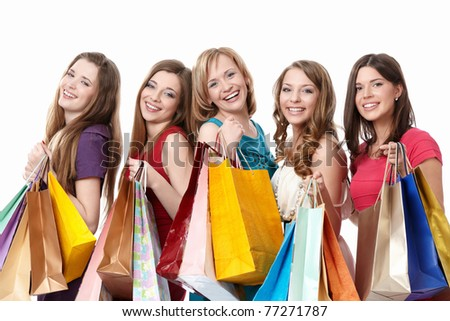 Smiling girl with a bag on a white background