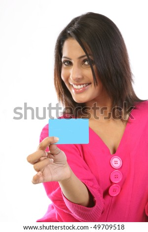 Smiling girl with blank card
