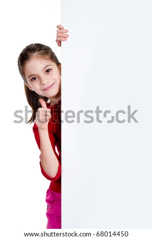 smiling girl with thumb up holding empty board