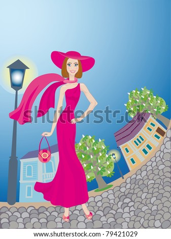 Smiling glamour young lady in pink dress walks around an age-old town